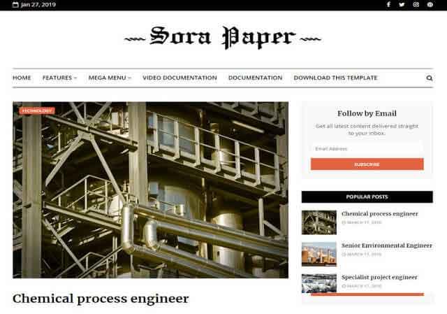 Sora Paper Blogger Template Premium Version Free Download