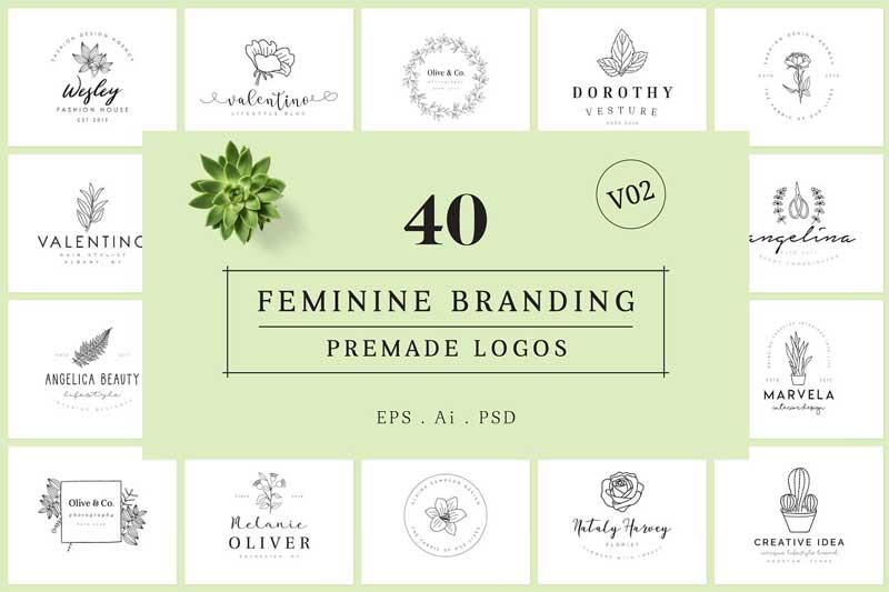 Feminine Branding Premade Logos V02 psdly