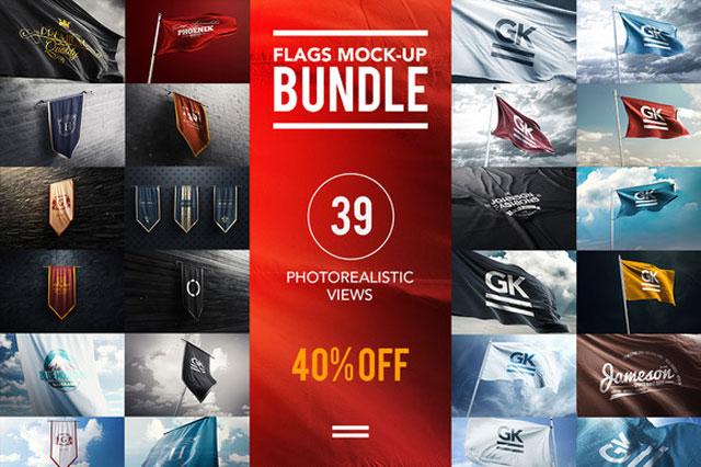 3D Flag2560s Bundle Mock up 927416