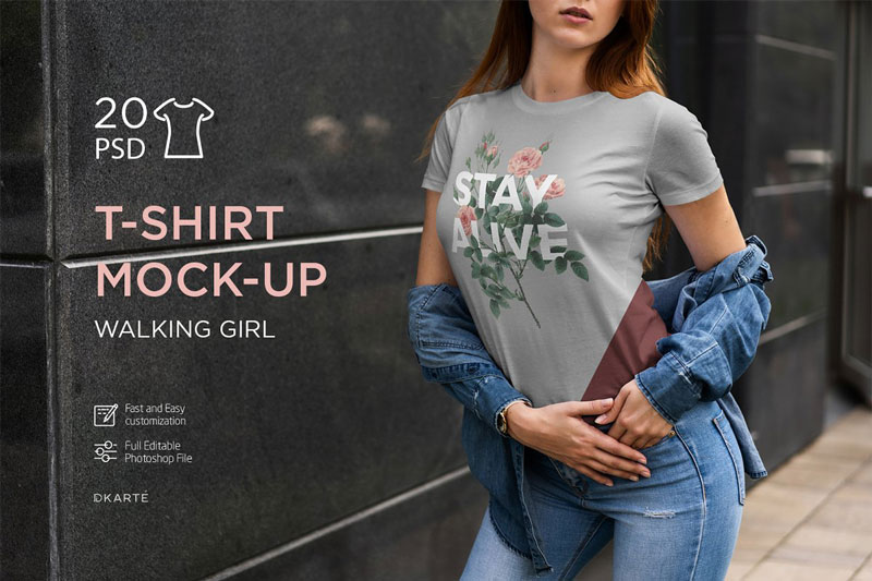 T Shirt Mock Up Walking Girl