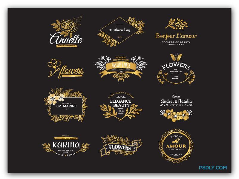 Vectors Golden Decorative Logotypes 28