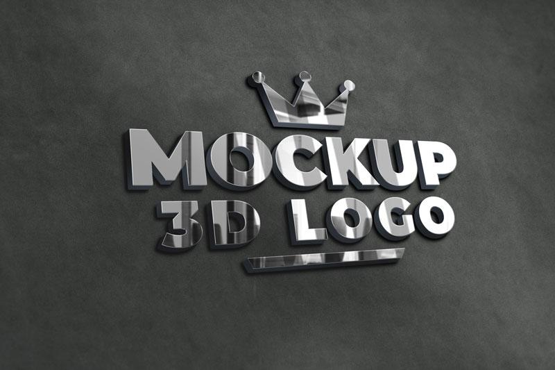 3D Silver Chrome Logo Mockup Premium Psd