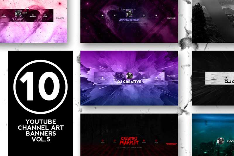 Creativemarket 10 Youtube Channel Art Banners vol.5 2044354
