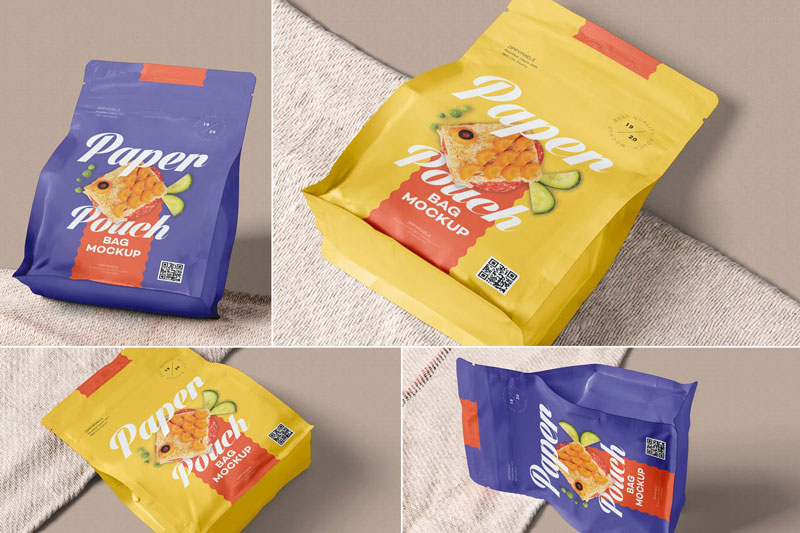 Sealed Paper Pouch Mockups