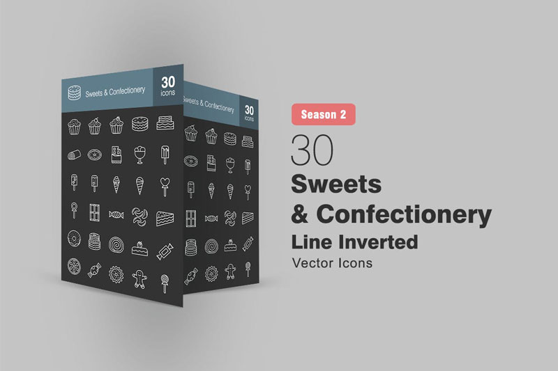 30 Sweets 2526 Confectionery Line Inverted Icons S2