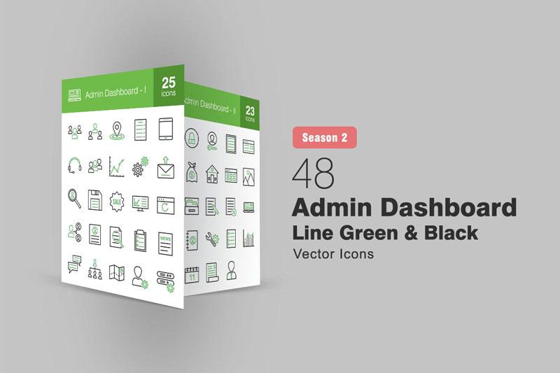 48 Admin Dashboard Line Green 2526 Black Icons S2