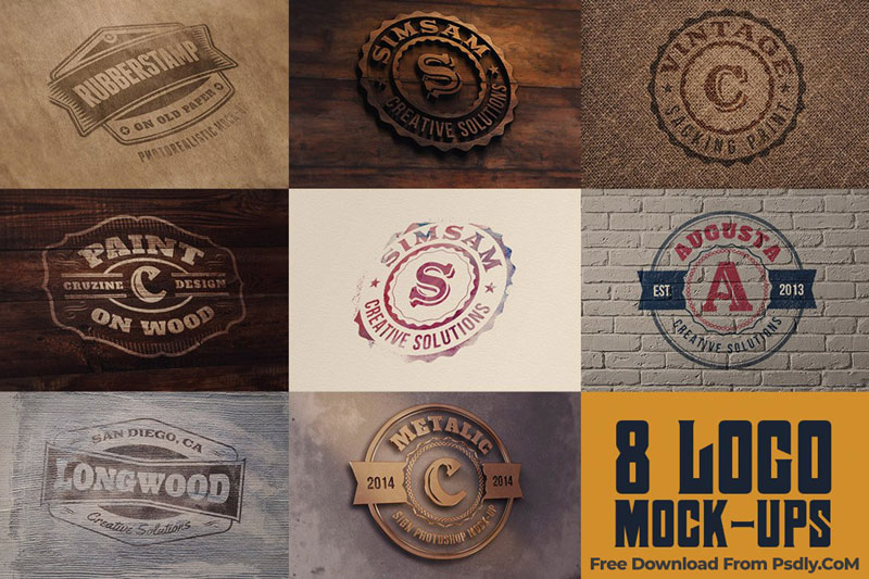 8 Realistic Logo or Text Mock ups 4981395