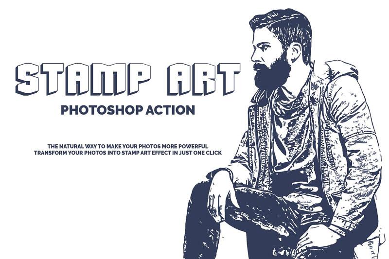 Stamp Art Photoshop Action 3523918