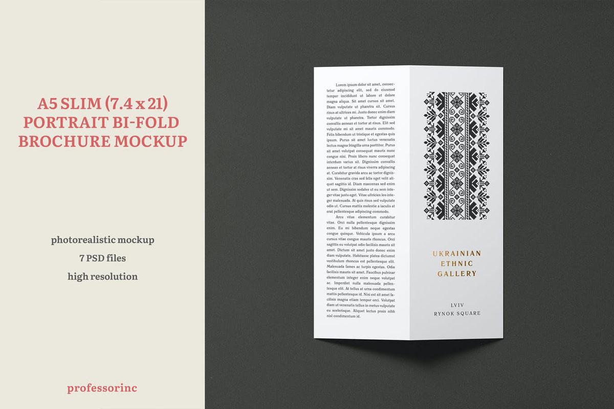 A5 Slim Portrait Bi-Fold Brochure Mockup