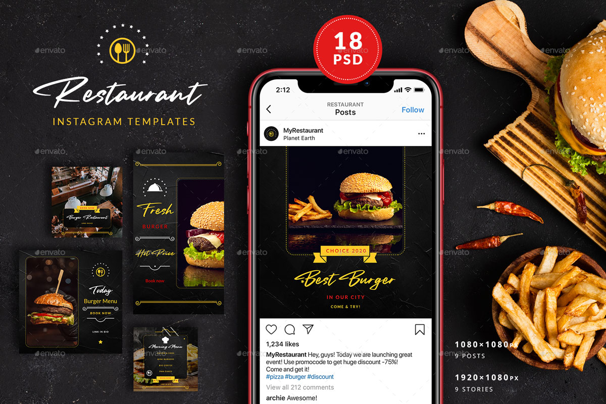 Burger Restaurant Instagram Posts&Stories 26312636