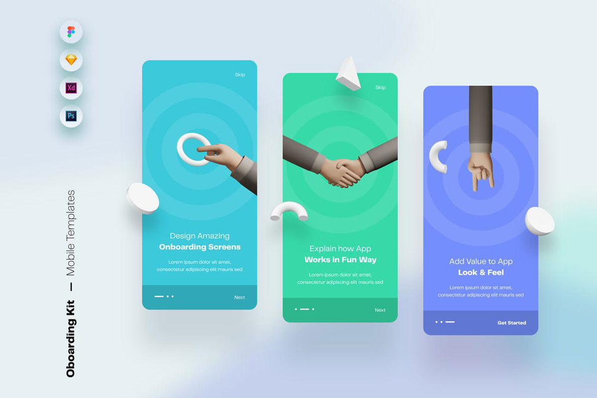 Onboarding Mobile App UI Screens & Templates