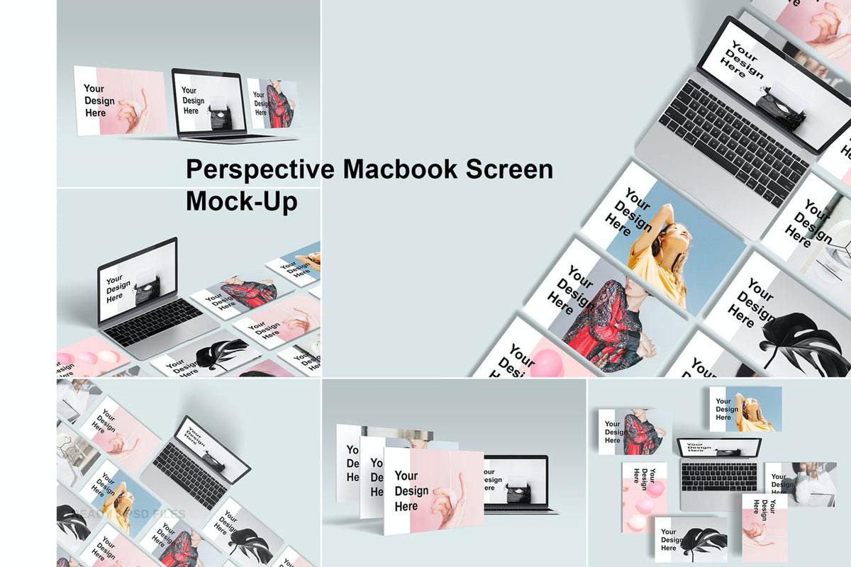 Perspective Macbook Screen Mock-Up