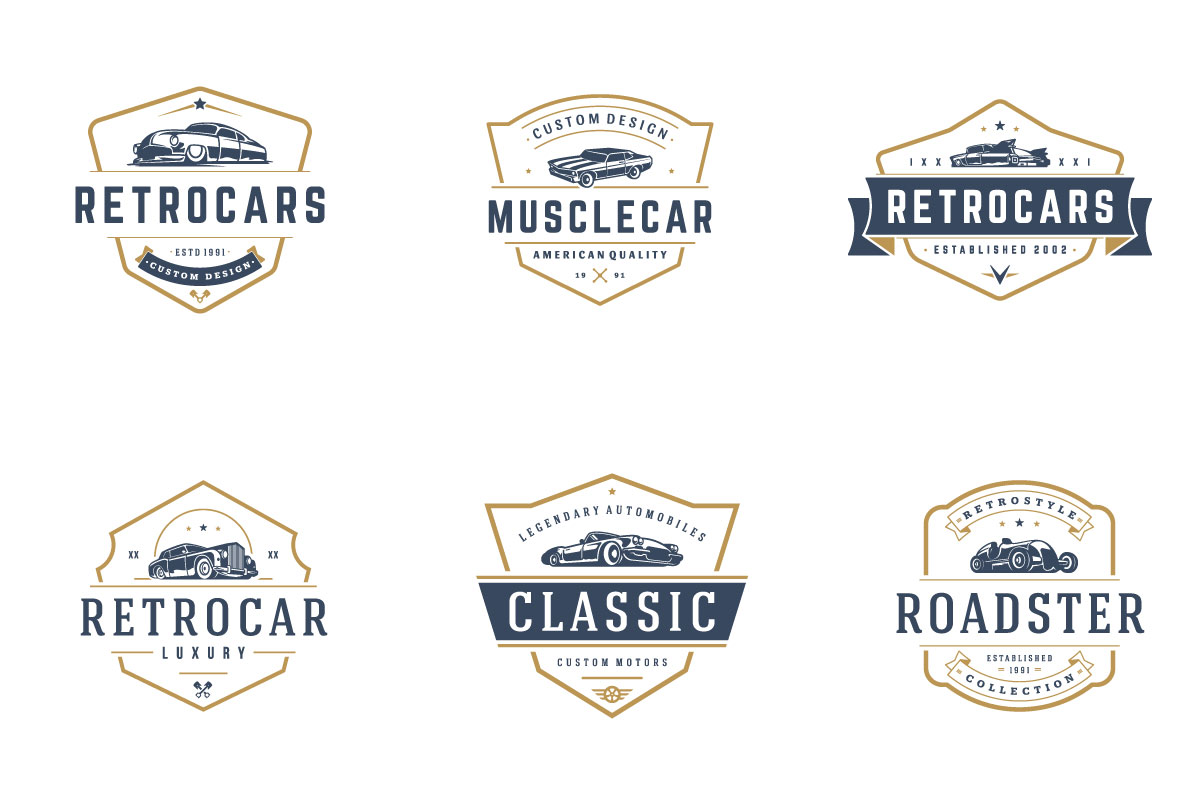 Classic Car Logo Template Element Vintage Style